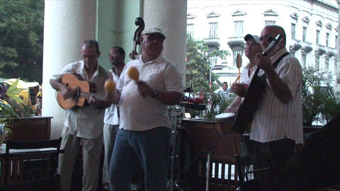Salsa musicians on terrrace part 7 of 9 Stock Video Footage