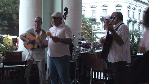 Salsa musicians on terrrace part 9 of 9 Stock Video Footage