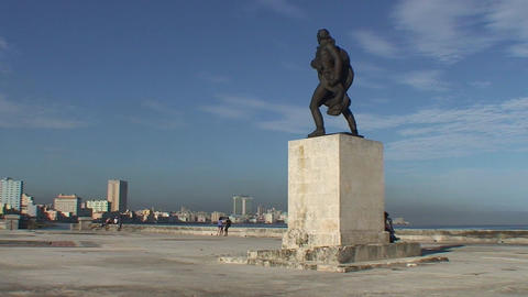 Statue at the Malecón Footage