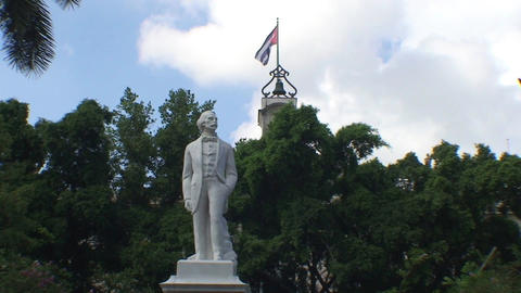 Havana Statue of Carlos Manuel de Cépedes Stock Video Footage
