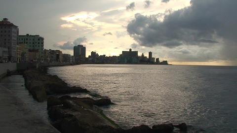Sunset on Malecón boulevard seaside Stock Video Footage