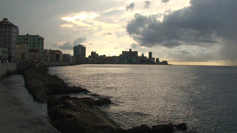 Sunset on Malecón boulevard seaside Footage