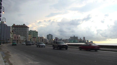 Traffic on Malecón boulevard panshot Stock Video Footage