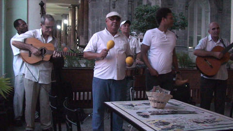 Salsa musicians 2 on terrrace part 1 of 9 Stock Video Footage
