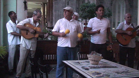 Salsa musicians 2 on terrrace part 1 of 9 Footage