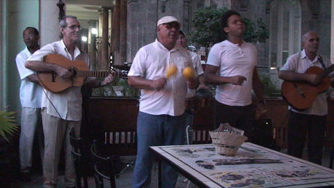 Salsa musicians 2 on terrrace part 3 of 9 Stock Video Footage