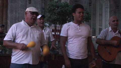 Salsa musicians 2 on terrrace part 5 of 9 Stock Video Footage