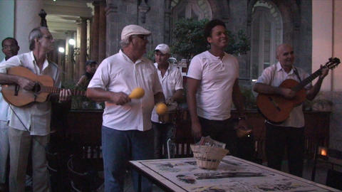 Salsa musicians 2 on terrrace part 7 of 9 Stock Video Footage