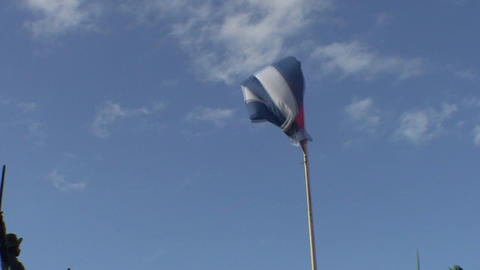 Flag of Cuba at blue sky Footage
