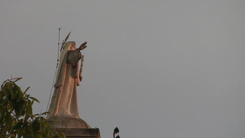 Jesus statue on church tower Stock Video Footage