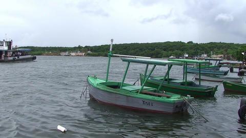 Cienfuegos Castillo de Jagua harber boat passing b Footage