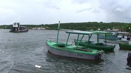 Cienfuegos Castillo de Jagua harber boat passing b Stock Video Footage
