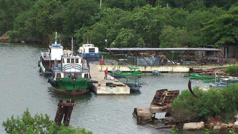 Cienfuegos Castillo de Jagua harber with boats Stock Video Footage