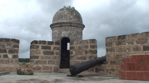 Cienfuegos Castillo de Jagua island cannon on cast Stock Video Footage
