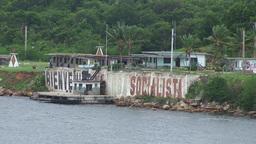 Cienfuegos Castillo de Jagua socialista sign Stock Video Footage