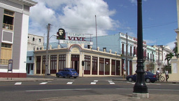Cienfuegos Che Guevara on billboard of building Stock Video Footage