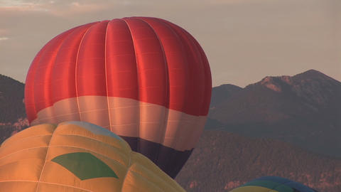 Hot air balloons filling up Stock Video Footage