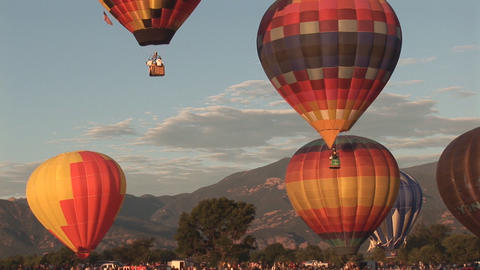 Hot air balloons ascending Stock Video Footage
