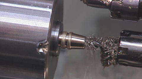 Closeup of metal processing on a lathe Stock Video Footage