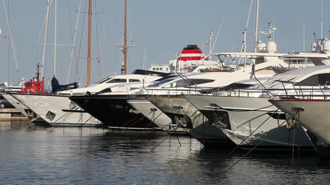 Luxury pleasure boats in a marina Stock Video Footage