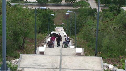 La Loma de la Cruz climbing the stairs Stock Video Footage