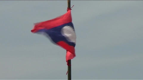 Lao flag Stock Video Footage
