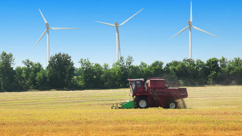 Field, wind power and harvester Footage