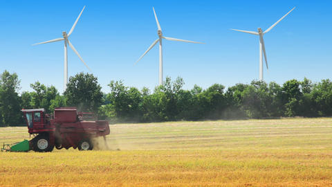Field, wind power and harvester Stock Video Footage