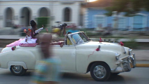 Cuba Sancti Spiritus Sweet sixteen parade in car Footage
