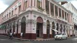 Colonial building tilt down Footage