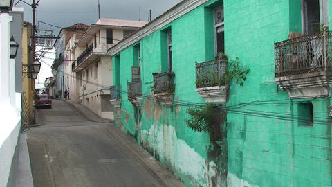 Streetview colonial buildings Stock Video Footage