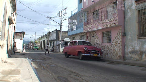 Streetview with oldtimers Stock Video Footage