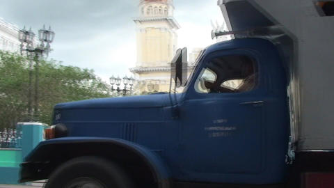 Streetview truck with passenger passing by Stock Video Footage
