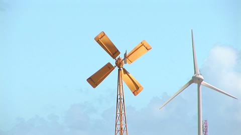 55 b old new windmills Footage