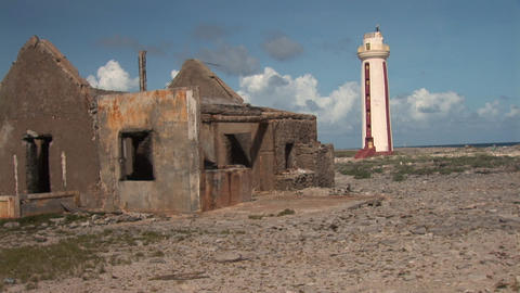 Old ruin and lighthouse on Bonaire Stock Video Footage
