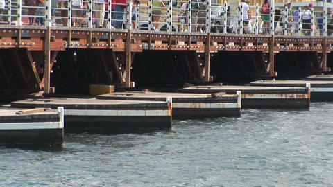 Part of a pontoon bridge Stock Video Footage