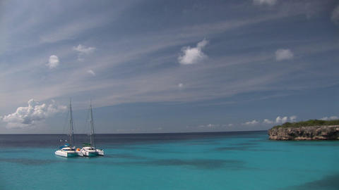 Two sailboats on Curacao Stock Video Footage