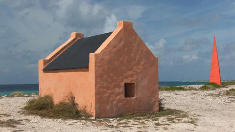 Slave huts and memorial Stock Video Footage