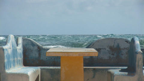 Bench at ocean Stock Video Footage