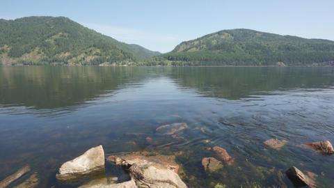 Siberian River Yenisei 02 pan right Stock Video Footage