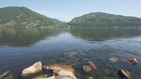 Siberian River Yenisei 02 pan right Stock Video Footage