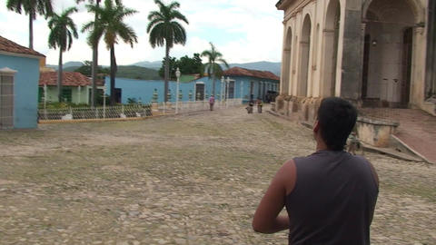 Trinidad Boys playing with kite at the plaza Stock Video Footage