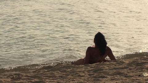 Trinidad Playa Ancón beachview sexy woman relaxin Footage