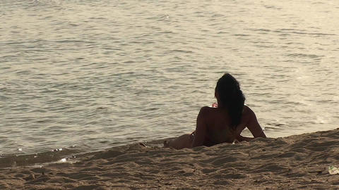 Trinidad Playa Ancón beachview sexy woman relaxin Stock Video Footage