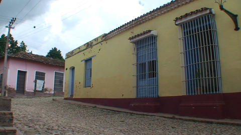 Trinidad Streetview colonial houses Stock Video Footage