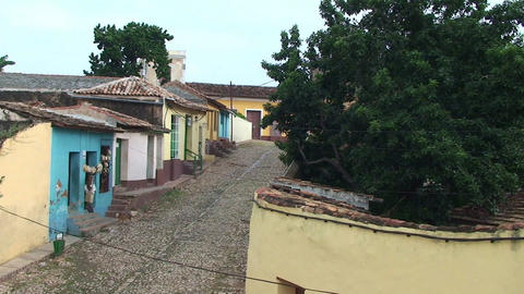 Trinidad Streetview colonial houses 3 Stock Video Footage