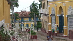 Trinidad Streetview colonial houses 5 Stock Video Footage