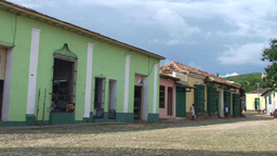 Trinidad Streetview colonial houses panshot Footage