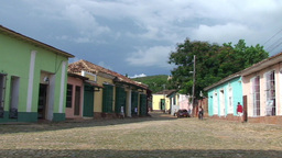 Trinidad Streetview colonial houses panshot Stock Video Footage