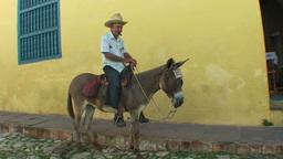 Trinidad Streetview man on donkey Stock Video Footage